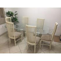 Mesa De Jantar Marmore Carrara C/ Tampo Vidro, C/ 6 Cadeiras