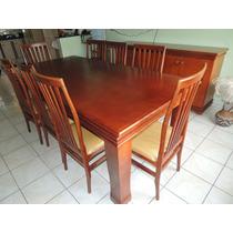 Sala De Jantar Mogno = Mesa + 8 Cadeiras + Buffet Pouco Uso