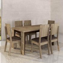 Conjunto Para Sala De Jantar Mesa E 6 Cadeiras Tampo De Mdf