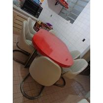 Vintage Mesa Jantar Formica Vermelha E 6 Poltrona R$3500,00