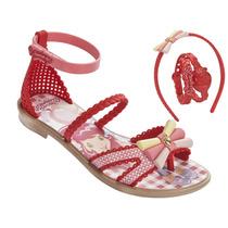 Sandalia Infantil Moranguinho Marshmal Vermelha Com Brinde