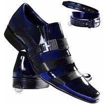 Sapato Social De Verniz Masculino + Cinto Verniz Azul- Lbm