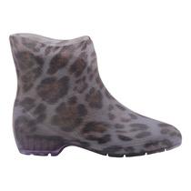Bota Galocha Feminina Leopardo Cano Curto 35670