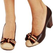 Sapato Scarpin Couro Legítimo Marrom Bege Vermelho Boneca 37