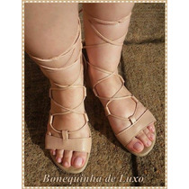 Sandalia Gladiadora De Amarrar Gladiadora Tirinhas Cor Blush
