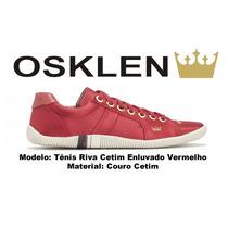Sapatenis Osklen Tenis Riva Vermelho 100% Original Em Couro
