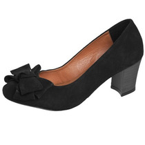 Sapato Scarpin Fiveblu Laço Preto Verniz 39 40 Nobuck Classe