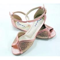 Sapatilha Ballerina Peep Toe F.s Rose Com Metalizado Rose