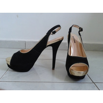 Sapato Peep Toe Bottero Salto Alto Camurça Preto E Dourado