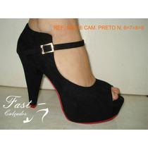 Sapato Retro Peep Toe Meia Pata Salto 12cm Camurça