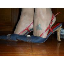 Sapato Mule-em Jeans E Couro Vermelho - 37