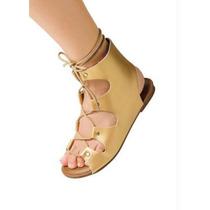 Sandalia Gladiadora Cano Medio - Dourada - Rasteira-cadarço