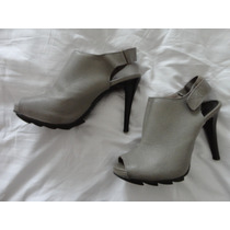 Ankle Boot Peep Toe Cinza Estado De Nova 38 Um Uso