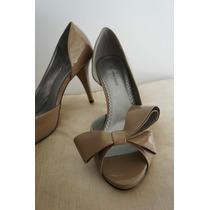 Sapato Anne Klein Verniz 37 Peep Toe Com Laço Cor Fendi