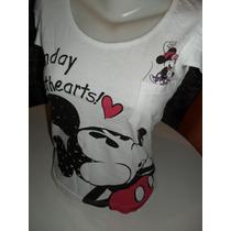 Mickey Disney Blusinha Branca Tam M
