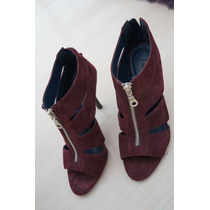 Peep Toe/ Ankle Boot Purpura/ Vinho Lindo Semi Novo 36