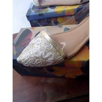 Sapatilha Dourada Com Pvc Feminina Sapato Presente