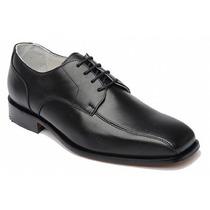 Sapato Preto Social Couro Pelica Com Cadarço