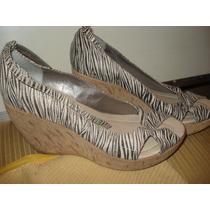 Sapato Estampa Tigre C/ Salto Em Cortiça Tam 37