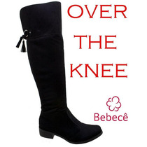 20%off Bota Over The Knee Bebecê Camurça Preto 2410-224