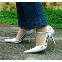 Scarpin Sapatos Femininos De Salto Bico Fino 34 Seminovo