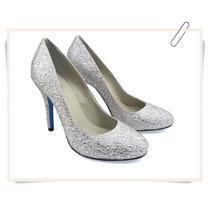 Sapatos Para Noivas Strass Ou Cetim Sola Azul