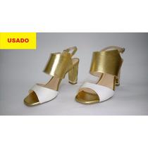 Sandália Feminina Lia Line Branca E Dourada
