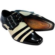 Sapato Social Masculino Calçado Preto Bege Verniz Gofer