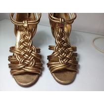 Sandalia Dourada Tory Burch Tamanho 6,5 Nova
