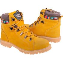 Bota Boot Amarela Mostarda 100% Couro Solado Latex Costurado