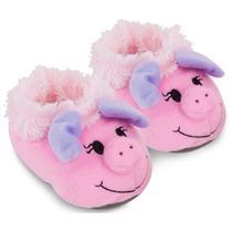 Pantufa Pelúcia Infantil Porca Rosa Cortex