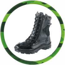Coturno Duplo Zíper, Extra Leve,100% Couro, Padrão Militar.