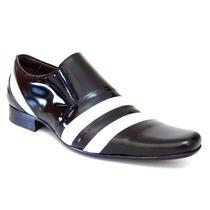 Sapato Social Masculino Em Couro Envernizado Branco Preto