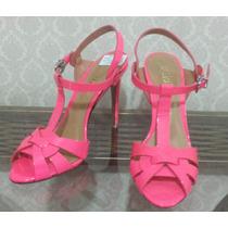 Sandália Salto Alto Verniz, Modelo Ysl, Pink Neon, Schutz 35