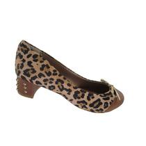 Sapato Crysalis Salto 3 Cm Grosso Onça -50733085