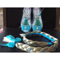 Kit Sapatilha Tiara Da Elsa Frozen Infantil Personalizada