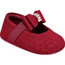 Sapatinho Bebê Vermelho Laço E Strass Pampili