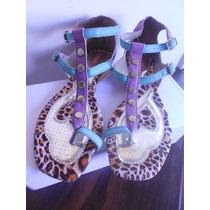 Sandália - Rasteirinha Tanara Azul E Lilás De Oncinha Nº 38
