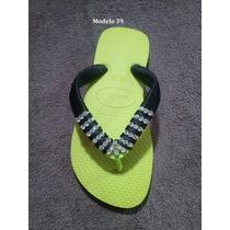 Sandálias Chinelos Havaianas Customizados Com Fio De Seda