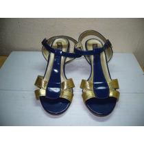337 X - Sandália Azul/dourado Nº 37 Stylus