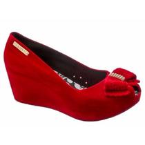 Sapato Sandália Anabela Peep Toe Flocado (camurça) Promoção