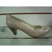 Sapato Confort Via Paula Nude Em Couro N°38 - Promoção!!!!