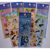 30 Cartelas Adesivos Stickers Peppa Frozen Monster Minions