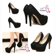 Sapatos Femininas Importadas Leopardo E Preto Frete Grátis