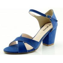 Sandália Glamm Tiras E Salto Quadrado Azul - Sapatos Mania