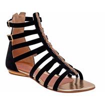 Sandália Gladiadora Salto Chinelo Calçado Rasteirinha Preta
