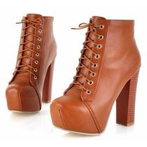 Bota Sapato Ankle Feminino P2689 Outono Inverno Importado