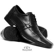 Sapato Couro Legitimo Masculino Chic Conforto Solado Borrach