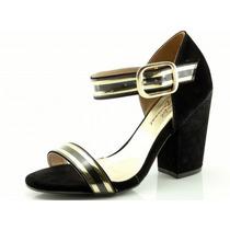 Sandália Glamm Salto Grosso Preta - Sapatos Mania