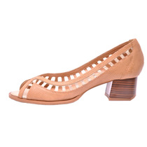 Sapato Feminino Peep Couro Salto Baixo Bege Vazado